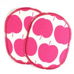 Hosenflicken Apfel Set Bügelflicken Obst Knieflicken Äpfel pink 10 x 8 cm 2 Aufbügler für Mädchen Flicken zum aufbügeln