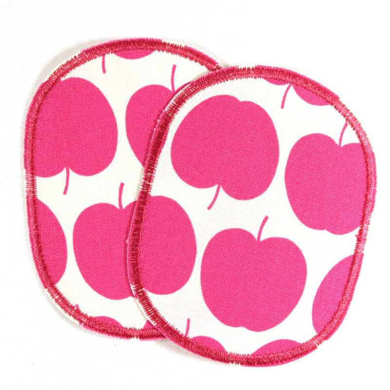 iron on patch Flickli! Set retro apple pink on white for girls
