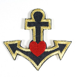 iron-on patch anchor little red heart maritime badges iron on applique organic denim nautic patches for adults