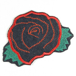 the iron-on-patch flickli! red rose badges flower appliques roses patches organich denim flickli patch flower power