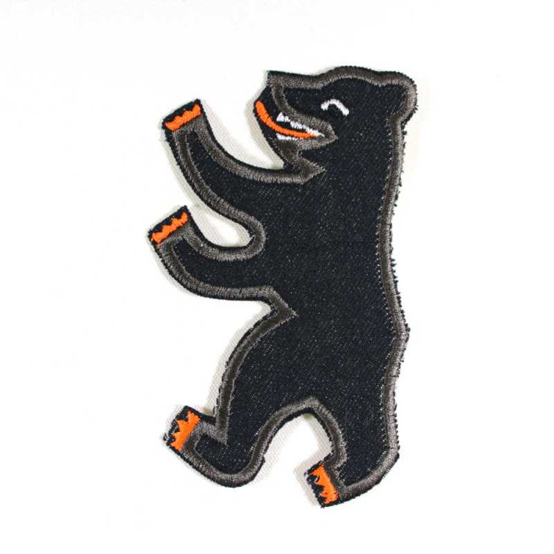 Berliner Bear iron-on patch organic Denim badges for adults appliques patches capital germany jeans flickli neon gray blue
