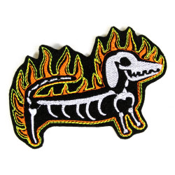 Patch Dachshund Skeleton Patch Flame Iron-On Patch Bone Patch Fire Dog Embroidery Applique Patches Ghost Dog