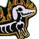 Flicken Dackel Skelett Aufbügler Flammen Bügelbild Knochen Patch Feuer Hund Bügelflicken Applikation Aufnäher Gespenster Hund