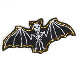 Bügelbild Fledermaus patch schwarz weiß Flicken Vampir Aufnäher Skelett Aufbügler skull Bügelflicken für Erwachsene Gothic Nacht