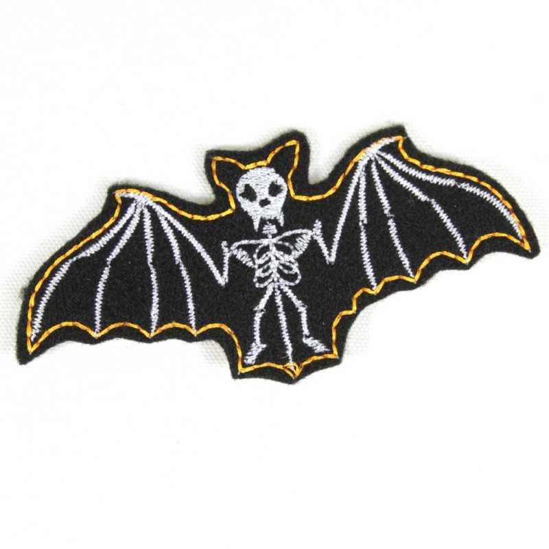 Iron-on patch bat patch black white badges vampire appliques skeleton bones skull for adult gothic night