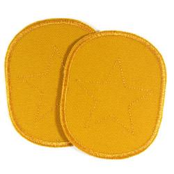 Knieflicken gelb Hosenflicken Stern Bügelflicken Canvas Flicken senfgelb Aufbügler für Kinder zum aufbügeln am Knie gestickt