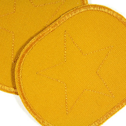 iron-on patch flickli! set retro with star on yellow canvas perfect for children