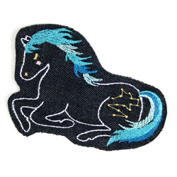 iron-on patches with turquoise blue horses on organic denim appliques pony badges for girls