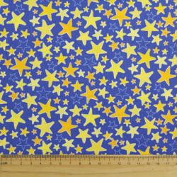 Cotton fabric stars yellow gold fabrics royal blue navy Robert Kaufman fabrics