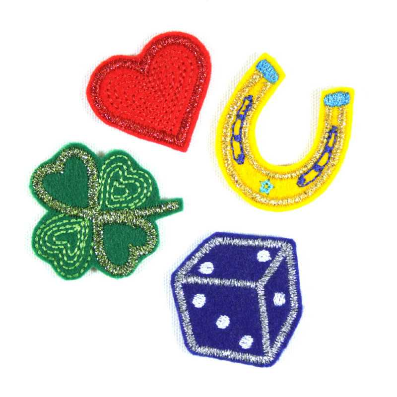 Glitter iron-on transfers, horseshoe, hearts, dice, shamrock patches, luck set, love and play, metallic appliqués to iron on