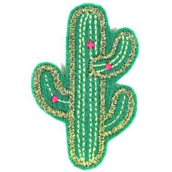 Bügelbilder Kaktus Lurex Flicken Glitzer Patches Kakteen Aufbügler Metallic Bügelflicken Aufnäher Accessoire Pflanzen Flicken