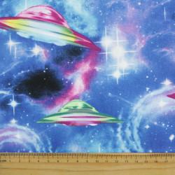 Patchworkstoff UFO Weltraum Stoff timeless treasures mit Raumschiff Rakete