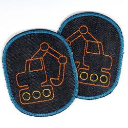 Bügelflicken Bagger Hosenflicken Set Baustelle Knieflicken Jungen Aufbügler Jeansflicken Bio Aufnäher zum aufbügeln Flicken