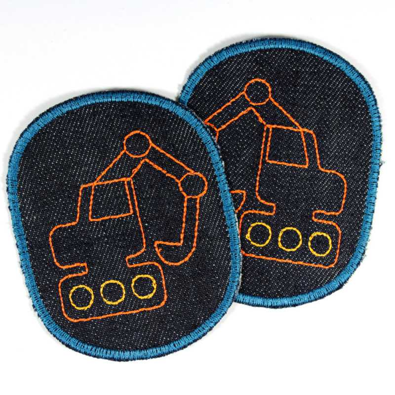 Iron-on patches set excavator trouser patch kid knee patches boys patch organic denim badges appliques building site