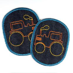 Knieflicken Traktor Bügelflicken Fahrzeug Bauernhof Hosenflicken Set Bio Jeans Aufbügler Jungen Flicken Set Jeansflicken