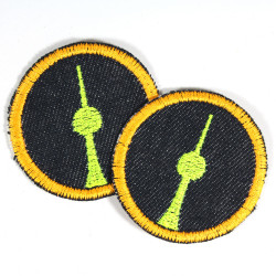 iron-on patches small round with neon yellow tv tower Berlin blue denim neon orange trim as accessories and iron on appliques