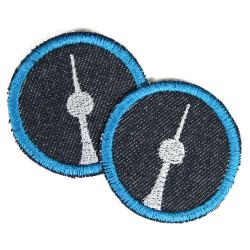 Bügelflicken rund Fernsehturm Aufbügler Berlin Patchr silber auf Jeans blau petrol 5cm 2 Bügelbilder Flicken