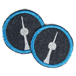 iron-on patches small round with silver tv tower Berlin blue organic denim accessories and iron on appliques germany badges