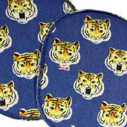 iron-on Patches Tiger Set Knee Patch appliques kids  Cat badges Set boys repair visible blue big