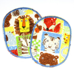 iron-on patches set with animals multicolor tiger zebra elephant lion monkey knee badges kids appliques