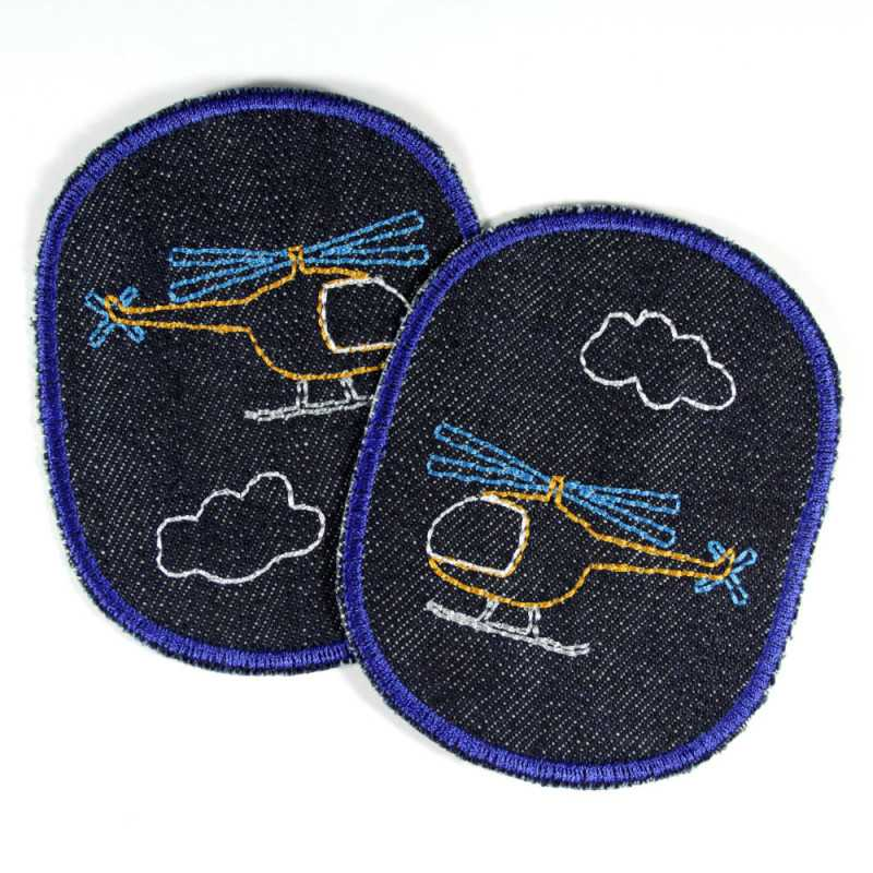 iron-on patches set with helicopter denim iron-on-patches for boys organic badges children kids knee patches sky clouds appiques