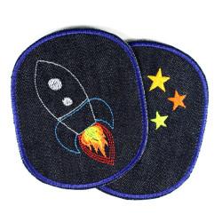 Flicken Rakete Sterne Set Hosenflicken Knieflicken Space Flicken Orbit Aufbügler Weltraum Bügelflicken Weltall Jeans Aufbügler
