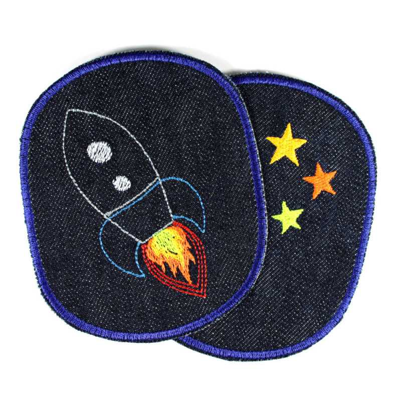 Iron-on patches rocket stars knee-patches space appliques denim badges galaxy patch for kids and children repair visible mending