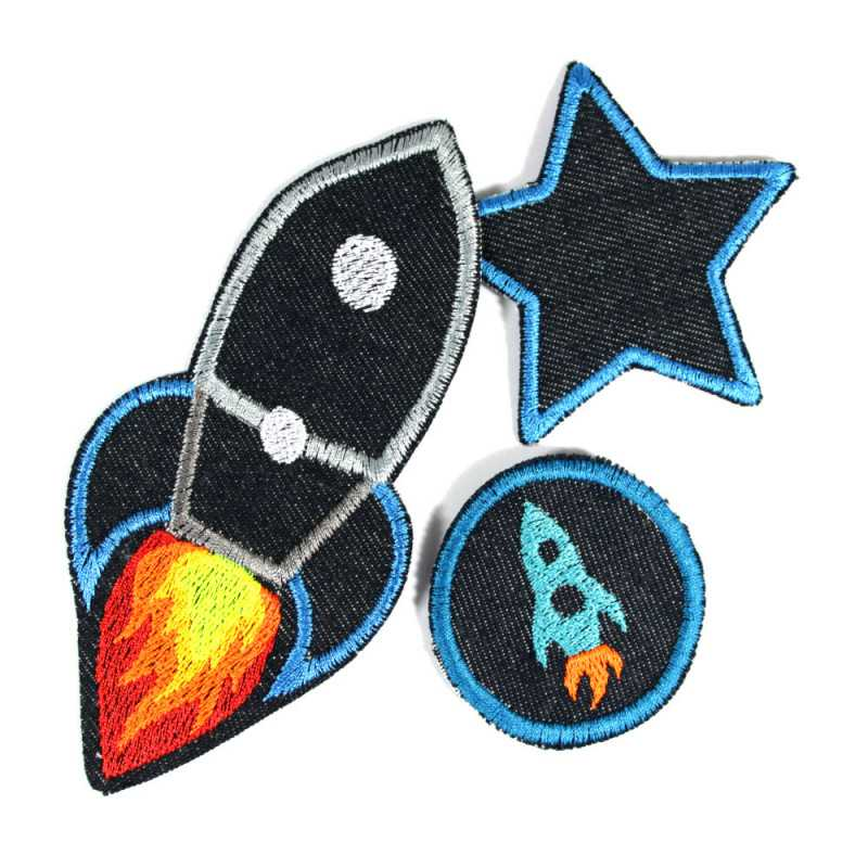 Irin-on rocket set 3 patches star space pants patches knee patches organic denim galaxy repair visible mending badges for childr