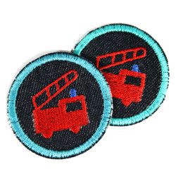 2 small iron-on patches round with fire engine on organic blue denim embroidered appliques 5cm for children ans boys