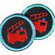 Flicken zum aufbügeln Feuerwehr auf dunkelblau Bio Jeans 5cm klein Aufbügler geeignet als Knieflicken und Hosenflicken