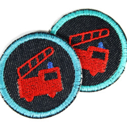 small iron-on patches round with fire engine on organic blue denim embroidered appliques 5cm for children ans boys
