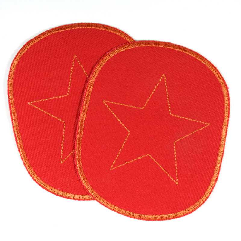 2 iron on patches large size with star on red strong canvas knee-patches appliques for kids children badges stars orange