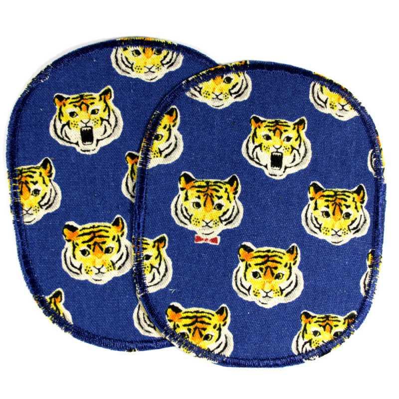 gelb Tiger Kinder Tier Aufnäher // Bügelbild 6,7 x 6,5 cm