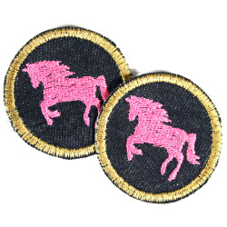 2 iron on patches organic jeans round with pony on blue denim horse appliques for girls pink badges visibele mending