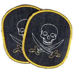 Flicken Piraten Set Hosenflicken Skull 2 Bügelflicken Seeräuber Totenkopf Bio Jeans Aufbügler große Patches Aufbügler Bio Jeans