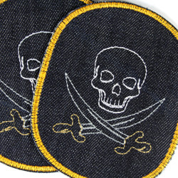 iron-on patches pirates skull knee-patch set big organic denim badges appliques buccaneer badges saber