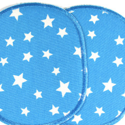Iron-on Patches XL set stars white on blue iron-on- badges big for kids knee iron-on patches visible mending for children