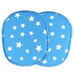 Hosenflicken Sterne große Bügelflicken 2 Flicken im Set mit Srternchen auf blau zum aufbügeln für Kinder XL Knieflicken