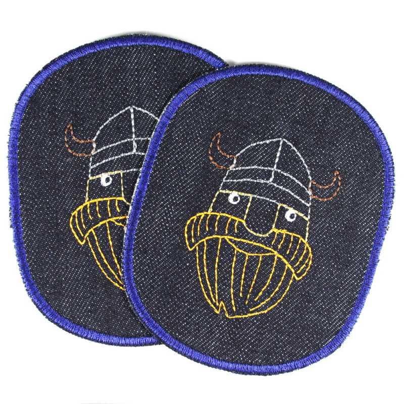 iron-on patches pirates knee-patch set vikings blue organic denim badges buccaneer appliques