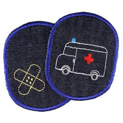 Flicken Ambulance Hosenflicken Rettungswagen Knieflicken Krankenwagen Bügelbilder Notarztfahrzeug Aufbügler Krankenauto Jeans