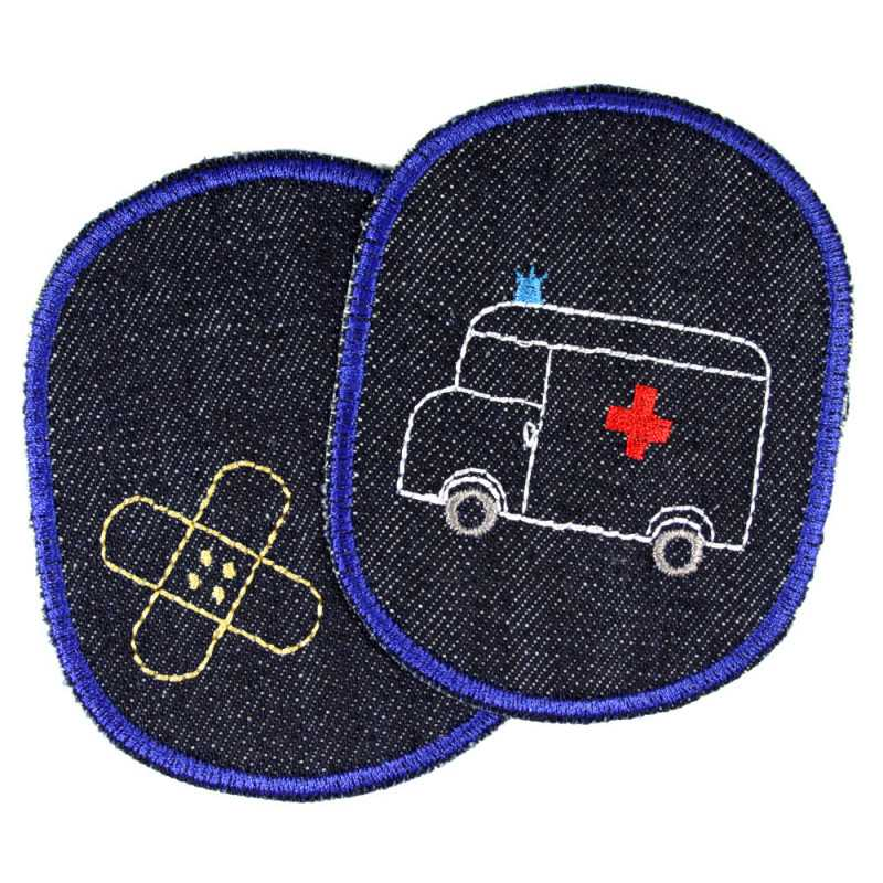 Iron-on Patch Ambulance Trouser Patches Ambulance Knee-Patch visible mending Iron-On Badges Emergency Medical Vehicle Appliques