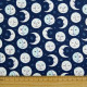 Cotton fabric moon stars blue Daydreamer Robert Kaufman fabrics universe for quilting patchworking and sewing full moon face