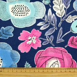 cosmo Stoffe Japan Blumen Canvas hellblau pink Baumwollstoff blau