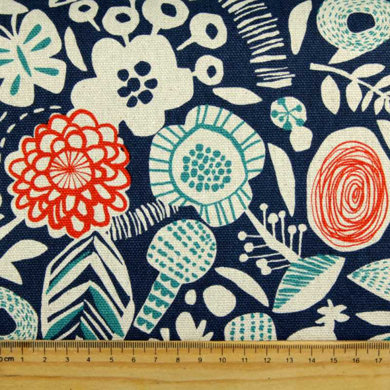 cosmo fabrics canvas printed flowers blue cotton linen canvas large plants