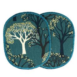 Märchenwald Aufbügler für Mädchen große Flicken Bäume gold Metallic Hosenflicken XL Knieflicken Aufnäher zum aufbügeln Baum