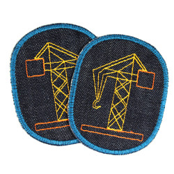 Patch construction site trouser patch crane knee patch vehicle iron-on patch boy patch jeans organic denim patches vegan constru