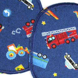 Iron-on patches Cars Knee-patch trucks Trousers patch Traffic Colorful vehicles Patch set Police repair patch Fire truck Tractor