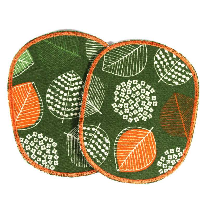 Trouser-Patch Nature Leaf Patch Set Green Orange Leaves Iron-on Patch Large knee Patch for Forest Children to mend and repair
