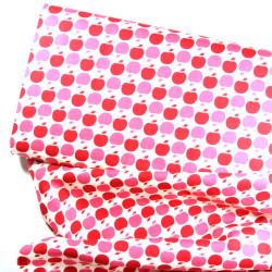 Apple fabric pink pink APPLE DOT retro cotton fabric apples in pink pink on cream cotton fabric Michael Miller Fabrics US design