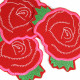 iron-on-patch flickli! red and neon pink rose badges flower appliques roses patches visible mending knee patches